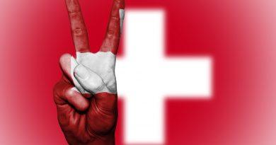 Flagge der Schweiz und Friedenssymbol