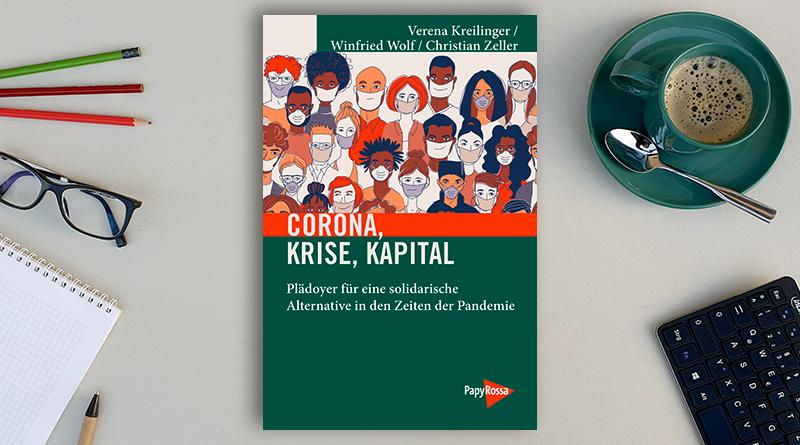 """Fachbuch """"Corona, Krise, Kapital"""" auf einem Schreibtisch"""