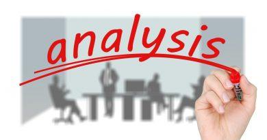 Hand schreibt Analyse