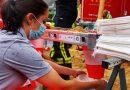 Helferin der Johanniter beim Hochwasser Spenden 2021